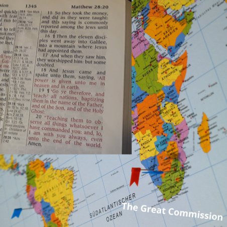 A map and a Bible showing the journey of our commission